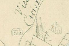 Jedyny zachowany wizerunek kościoła w Cieciszewie, druga połowa XVII wieku