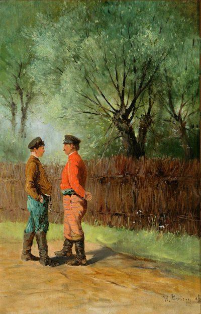 """Władysław Bończa-Rutkowski """"Rozmawiający chłopi"""" 1896 r. ze zbiorów Muzeum Narodowego w Poznaniu"""