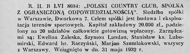 """wzmianka o wpisie do Rejestru handlowego """"Polski Country Club Sp. z o.o."""""""
