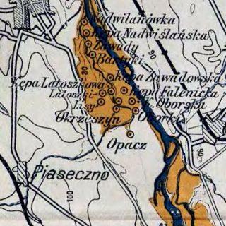 Mapa terenów zalanych przez Wilanówkę w roku 1934, WIG