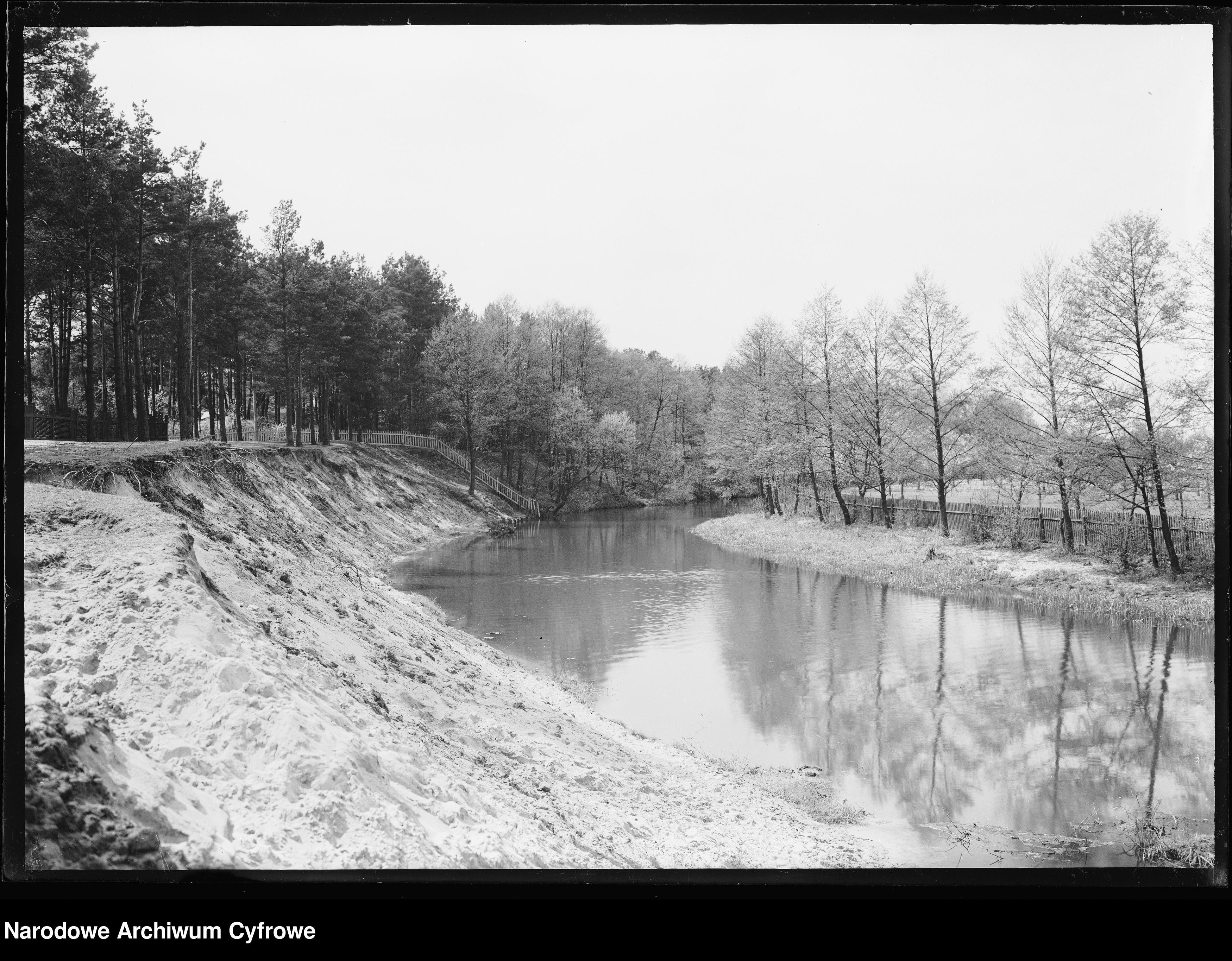 Jeziorka w okolicach Skolimowa (skarpa pomiędzy ulicami Środkową a Kościelną), okres międzywojnia, autor nieznany. Zbiory NAC