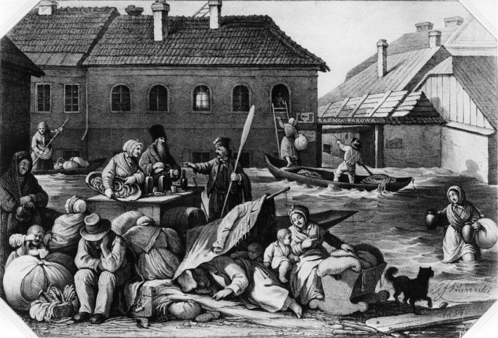 Powódź w Warszawie 1844 r. na ulicy Rybaki, rycina Jana Feliksa Piwarskiego, 1855-1859; Biblioteka Narodowa