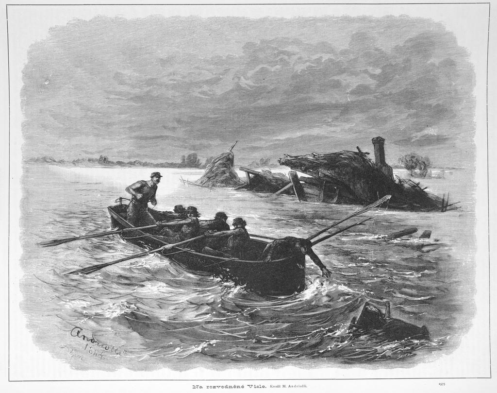 Powódź na Wiśle z 1813 rycina Michała Andriollego