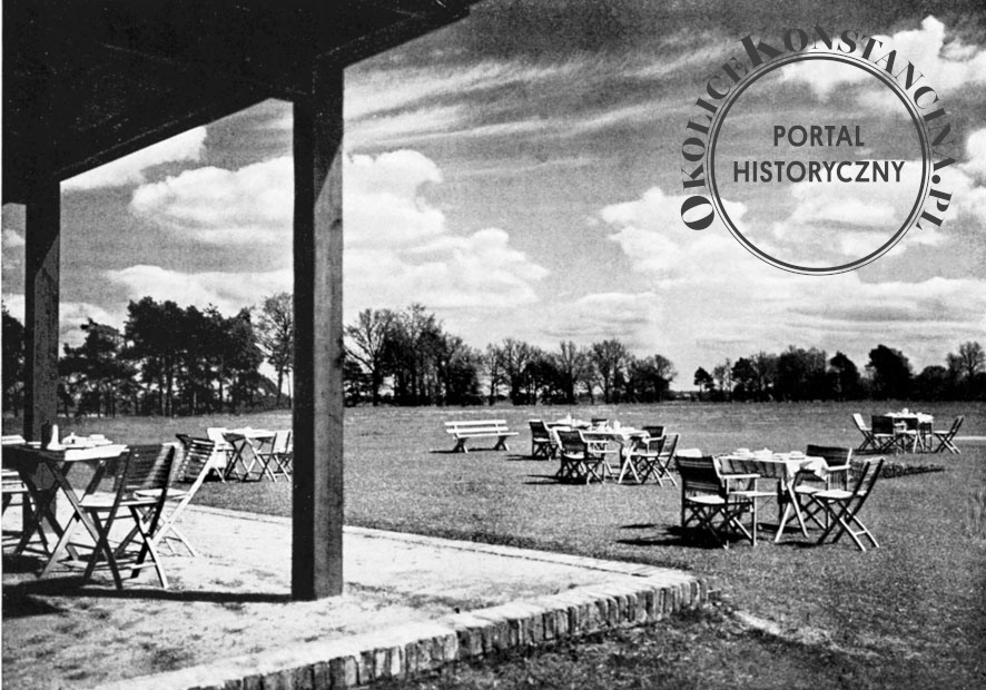 Widok z tarasu budynku klubowego, Arkady, 1938