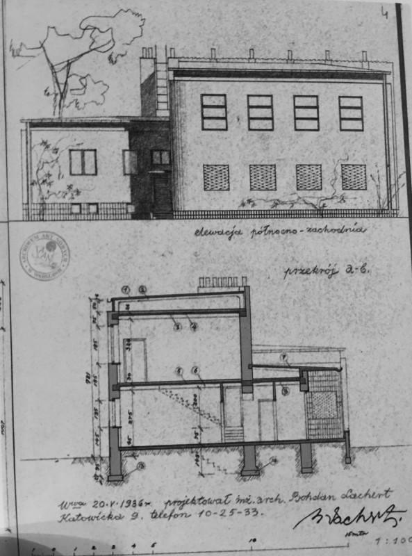1936 r - projekt budynku w Milanówku