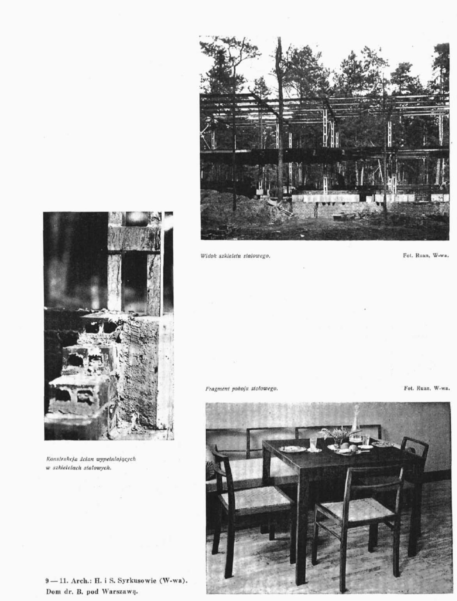 Stalowa konstrukcja domu przy Jasiowej i wyposażenie wnętrza mieszkalnego (Architektura i Budownictwo nr 4 1934 r)