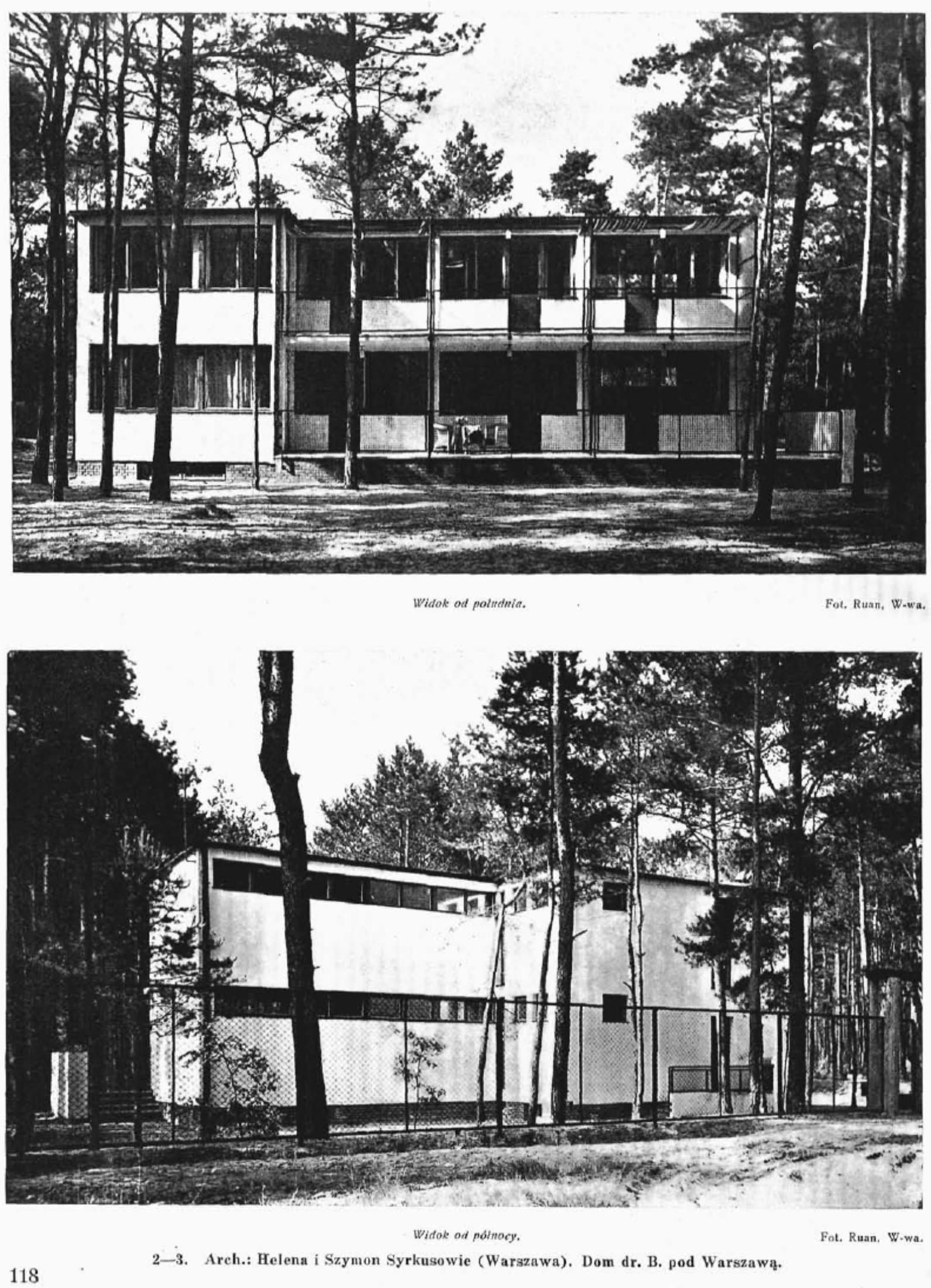 Południowa i północna fasada domu (Architektura i Budownictwo, nr 4 1934 r)