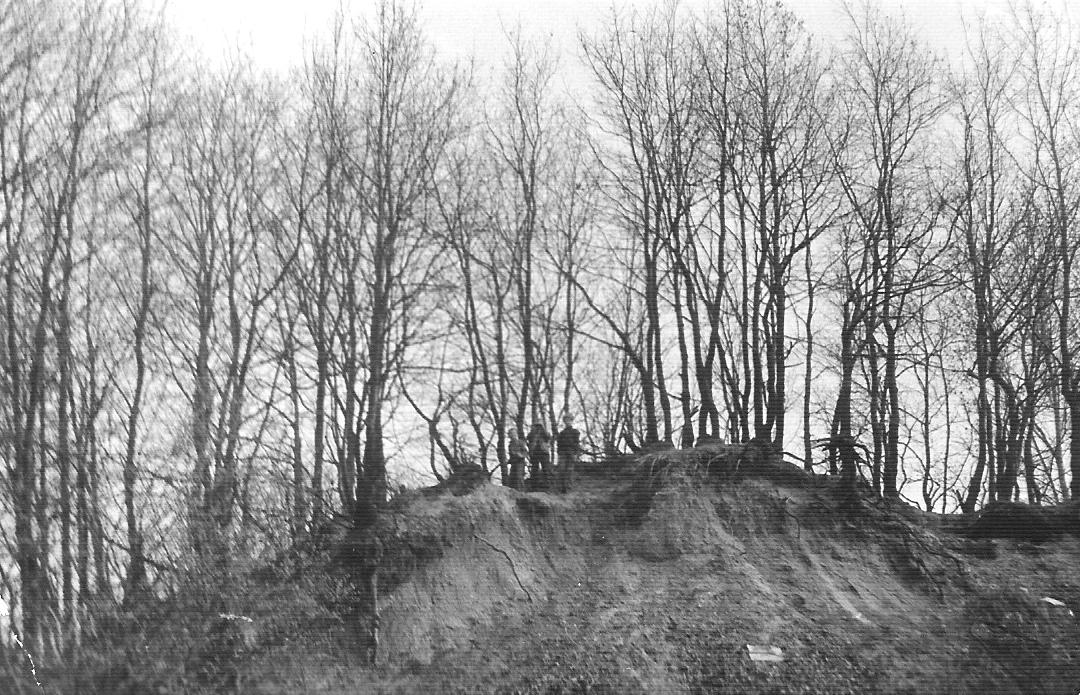 Skarpa wiślana na wysokości ogródków działkowych, lata 80-te XX wieku (zbiory A.Zyszczyka)