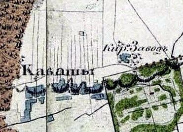 Fragment karty okrestnoe Warszawy z 1838 r., zb. Polona.