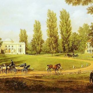 Widok pałacu w Natolinie od strony dziedzińca, W. Kasprzycki 1834, źródło pinakoteka.zaścianek.pl